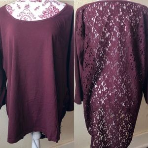 Simply Be Lace Back Tunic 20 Wine 100% Cotton
